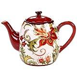Certified International 25839 Spice Flowers Teapot, 40-Ounce, Multicolor