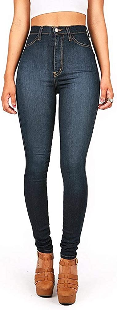 Womens Classic High Waist Denim Skinny Jeans