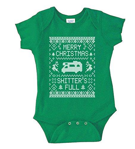 Merry Christmas Shitter's Full Baby Rib Lap Shoulder Bodysuit Rabbit Skins (6 months, Kelly Green)