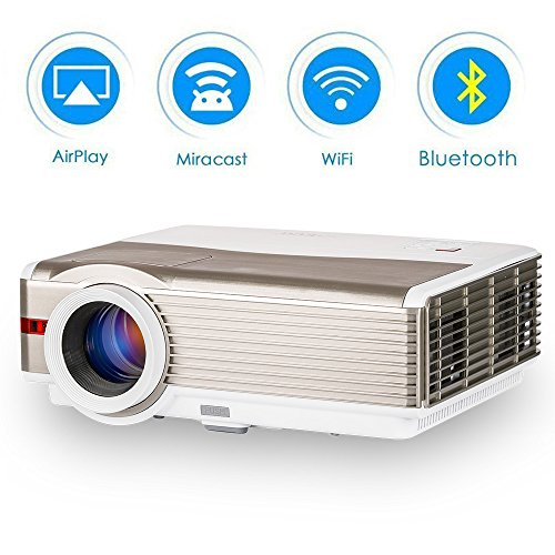 EUG Smart Wireless LCD HD Projector with Bluetooth Android LED 5000 Lumen Wxga Outdoor Entertainment Home Theater Projectors 1080P HDMI USB Audio VGA Support Digital Movies Proyector