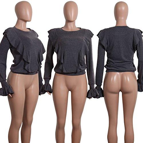 Tee Gris Col Printemps Casual Fashion Manches Pulls Tops Pullover Legendaryman de Haut Longues Feuille t Jumper Automne Shirts Lotus et Chandail Shirts Rond T Femmes C 6Txn4Cqx