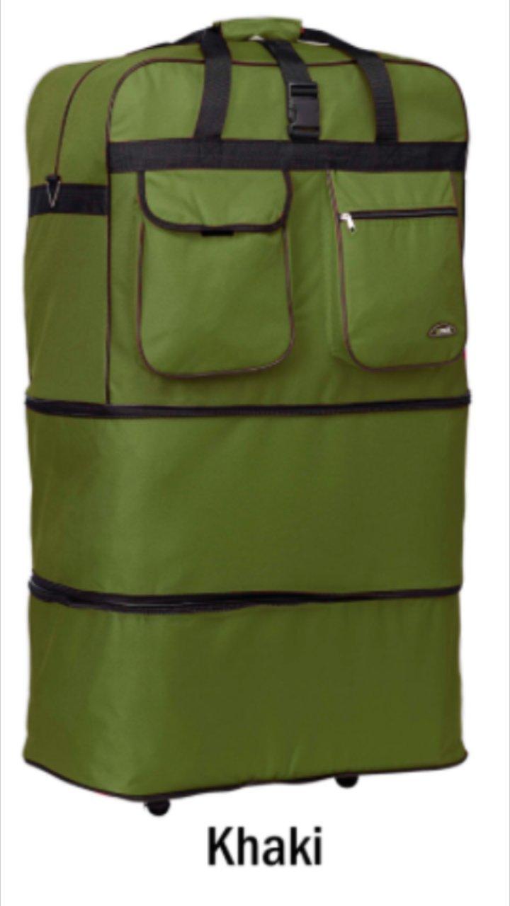 40'' Rolling Wheeled DuffleBag/spinner Luggage Expandable (40 inch, Khaki)