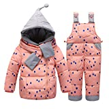 Little Girls' Snowsuit Jacket with Scarf Dot Printed Puffer Coat Toddler (80cm, Pink)