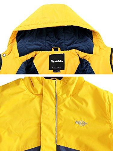 Wantdo Boy's Waterproof Quilted Ski Jacket Cotton Padded Coat Hooded Rainwear(Yellow+Dark Blue, 6/7) by Wantdo (Image #4)