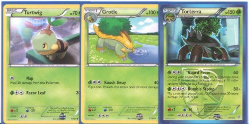 Torterra Grotle And Turtwig Rare Pokemon Card Evolution Set