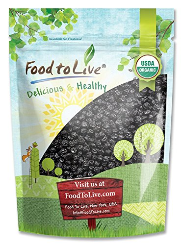 Organic Dried Blueberries - Non-GMO, Kosher, Unsulfured, Bulk, Lightly Sweetened, (by Food to Live) 4 pound