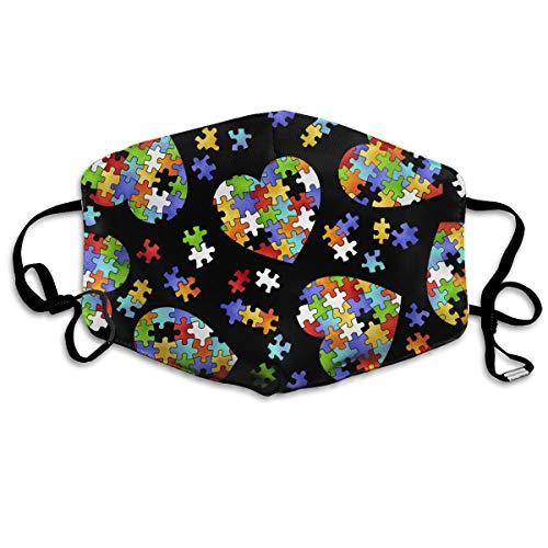 (Fashion Earloop Face Masks, Anti-Dust Anti Flu Pollenm Germs Bacteria Virus Smog Face and Nose Cover with Adjustable Elastic Strap, Colorful Autism Awareness Medical Mask)