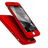iPhone 7 Plus Case, Jorty 360 Full Body Protection Hard Slim Case Coated Non Slip Matte Surface with Tempered Glass Screen Protector for Apple iPhone 7 Plus (5.5-inch) - Red
