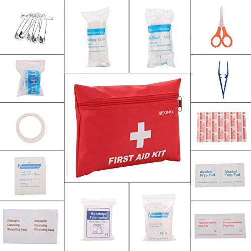 JIEXING First Aid Kit Lightweight Medical Emergency Kit with 45 Pieces for Home,Car,Survival,Camping,Sports and Outdoors (Kit Car Five)