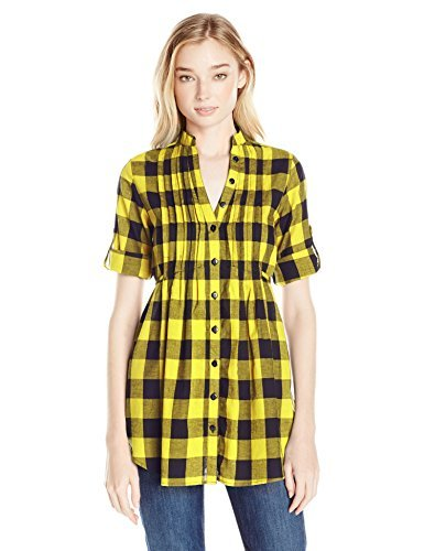 Shes Cool Juniors Roll Tab Sleeves Pintuck Tunic