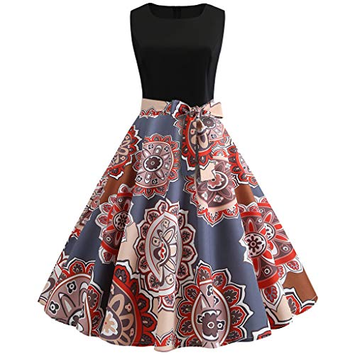 TOTOD Elegant Women Vintage Sleeveless O Neck Prom Swing Dress 1950s Retro Print Evening Party Dresses