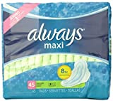 Always Maxi Unscented Pads with Wings, Long/Super, 45 Count