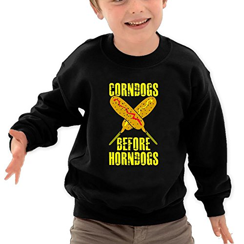 Puppylol Corndogs Before Horndogs Kids Classic Crew-Neck Pullover Hoodie Black 2 Toddler