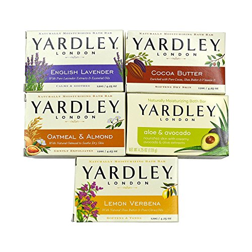 Yardley London Soap Bath Bar Bundle - 10 Bars: English Lavender, Oatmeal and Almond, Aloe and Avocado, Cocoa Butter, Lemon Verbena  4.25 Ounce Bars (Pack of 10 Bars, Two of each) Almond Organic Bar Soap
