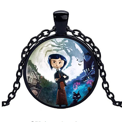 calhepco New Coraline Fashion Necklace Brass Pendant Steampunk Jewelry Gift Women Chain Toy