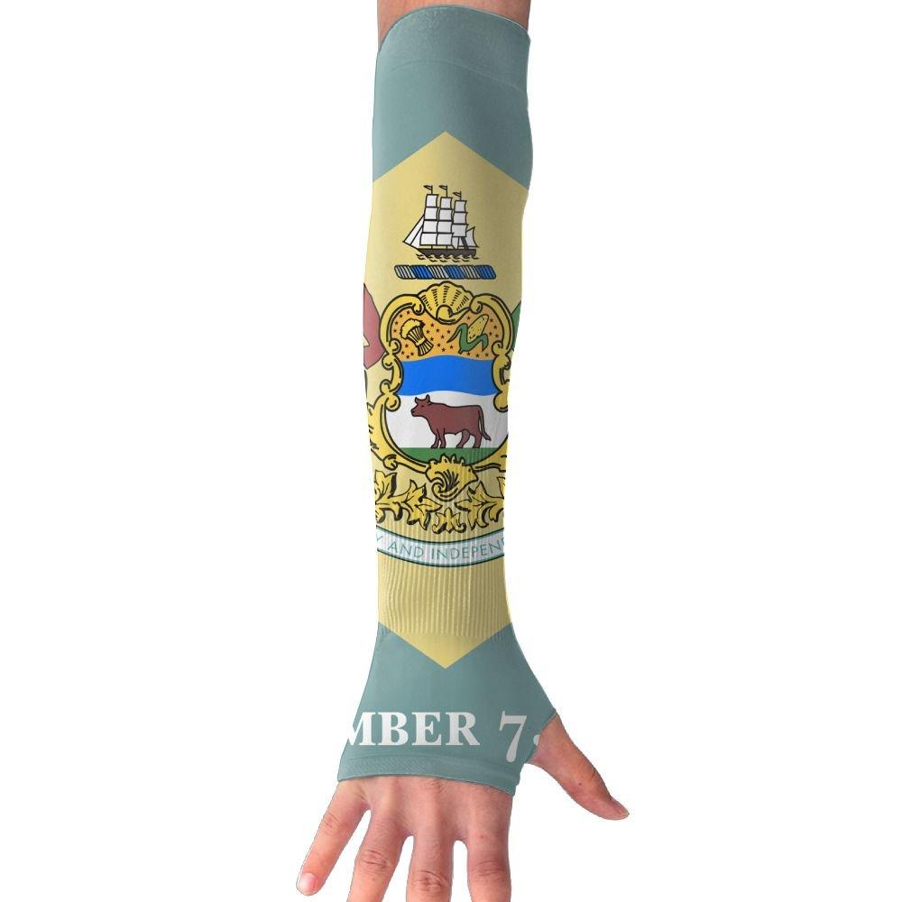 NUNOFOG Flag Of Delaware Unisex Summer Arm Cover Sleeves Long Fingerless Sun-proof Anti-UV Long Gloves For Outdoor