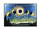 Jackson, Wyoming - Solar Eclipse 2017 - Starry Night (18x12 Framed Gallery Wrapped Stretched Canvas)