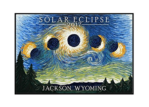 Jackson, Wyoming - Solar Eclipse 2017 - Starry Night (18x12 Framed Gallery Wrapped Stretched Canvas) by Lantern Press