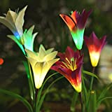 Homestarry Solar Garden Lights Outdoor, 2 PCS Solar Powered Lights with 8 Lily Flower, Multi-Color Changing LED Solar Stake Lights for Garden, Patio, Backyard (Purple/White) For Sale