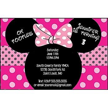 Amazoncom Disney Minnie Mouse Pink Birthday Party Invitations