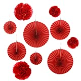 Gardeningwill Set of 10 Red Paper Fans Rosettes Hanging Ornament Birthday Party Wedding Decorative