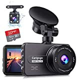 Dash Cam For Cars Front and Rear(32g Card Included)Full HD 1080P Carigogo Backup Camera 3 Inch IPS Screen 170° Wide Angel Dual Cam with Night Vision, G-sensor, Motion Detection, Parking Monitor, Loop Recording