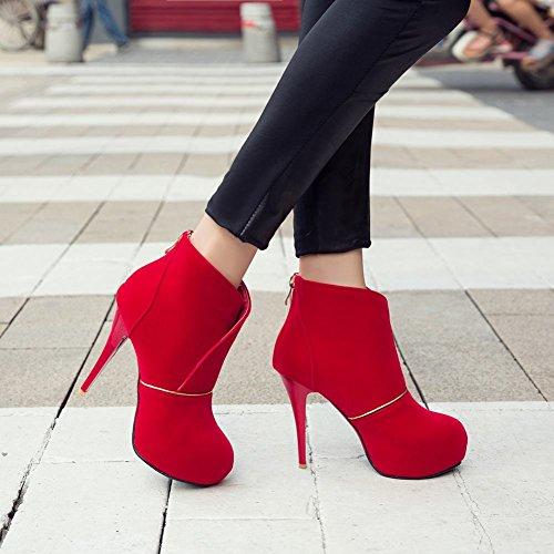 Donne Carolbar Plus Size Sexy Zip Piattaforma Moda Stiletto Tacco Alto Stivali Vestito Rosso