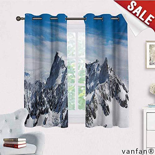 - Big datastore Elegance Sheer Window Curtain Panel,Landscape,Picturesque Mont Blanc Cliff to Clouds Idyllic Environment Trekking Landmark,Set of 2 Panels,White Blue,W55 Xl63