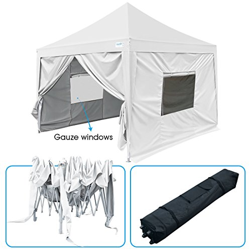 Quictent Upgraded privacy 6.6'x6.6′ EZ Pop Up Canopy Tent Instant Folding Gazebo Photo Booth with Sidewalls and Wheeled Bag, Waterproof 9.2ft Height (White) Review