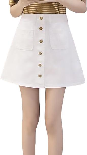 Faldas Vaqueras Mujer Verano Elegante Cintura Alta Línea A Falda ...