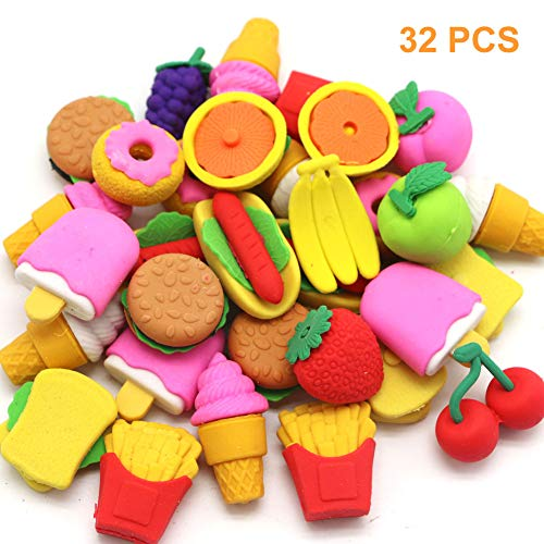 Qingo 32pcs Food Erasers for Kids, Take Apart Fun Erasers Food Cake Dessert Puzzle Erasers for Gift School Classroom Rewards and Novelty -