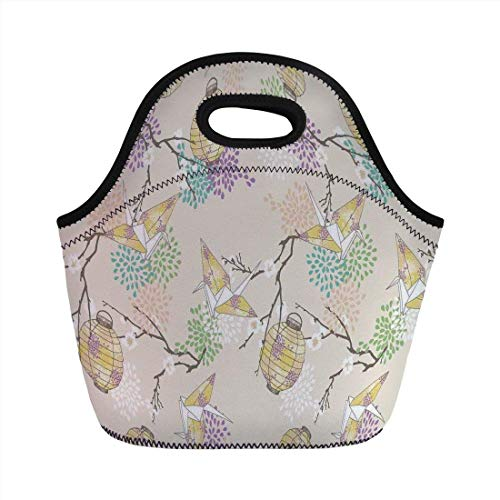 Portable Bento Lunch Bag,Lantern,Colorful Origami Cranes Paper Lanterns with Branches and Flowers Culture Decorative,Lilac Pink Beige Yellow,for Kids Adult Thermal Insulated Tote Bags -