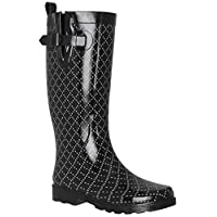 Capelli New York Ladies Dotted Diamonds Printed Mid-Calf Rain Boot Black Combo 10