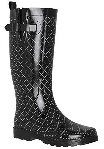 Capelli New York Ladies Ombrello Lucido Stampato Pioggia Boot Combo Nero