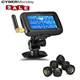 Careud RV Truck Bus Trailer TPMS Tire Pressure Monitoring System Real Time Monitoring Pressure and Temperature with Rechargeable Large LCD Display and 6pcs External Sensors(U901T 6 Tire)