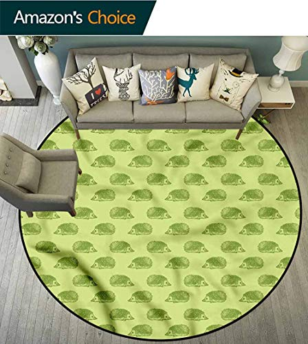 Hedgehog Floor Mats Spiny Mammals Green Latest Technology Rug Diameter-59 (Spot Latex Spiny Roller)