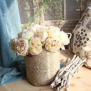 Hivot Artificial Flowers,Bridal Bouquet Bridal Wedding Party Hydrangea Home Decor Craft Silk Fake Peony Floral 110