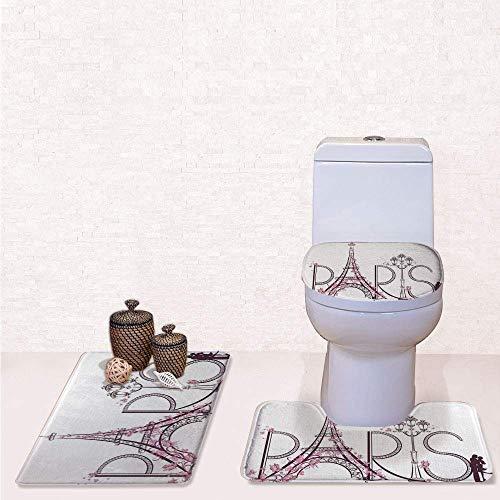 - Comfort Flannel 3 Pcs Bath Rug Set,Contour Mat Toilet Seat Cover,Tower Eiffel with Paris Lettering Illustration Couple Trip Flowers Floral Artful Design with,Decorate Bathroom,Entrance Door,Kitchen,