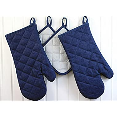 Quality Pot Holders and Oven Mitts. 100% Cotton Canvas, Quilted Mittens with Thick Terry Cloth Lining. Hot Pads with Heat Resistant Silver Back. 4-piece set, Blue Denim