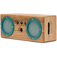 BONGO Bluetooth Wood Portable Speaker | Handcrafted Retro Bamboo Wireless Design | For Travel, Home, Beach, Kitchen, Outdoors | Enhanced Bass with Dual Passive Subwoofers | Green