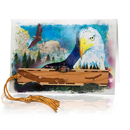 - Greeting Card with Bald Eagles Artwork Combined with Solid Wood Bookmark - A Fun Gift and Card All-in-One