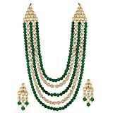 Shining Diva Fashion Jewelry Gold Plated Green Kundan Stylish Fancy Party Wear Wedding Necklace Set Traditional Jewellery Set with Earrings for Women & Girls