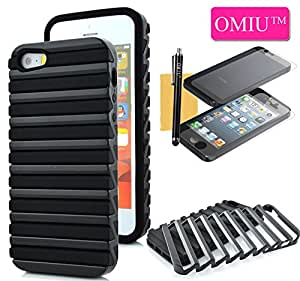 iPhone 5S Case, iPhone 5 Case, OMIU(TM)Fashion High Impact Two-in-one Anti-slip Ladder Design Soft Back Case Cover For Apple iPhone 5 5S(Black),with Stylus,Screen Protector and Cleaning Cloth