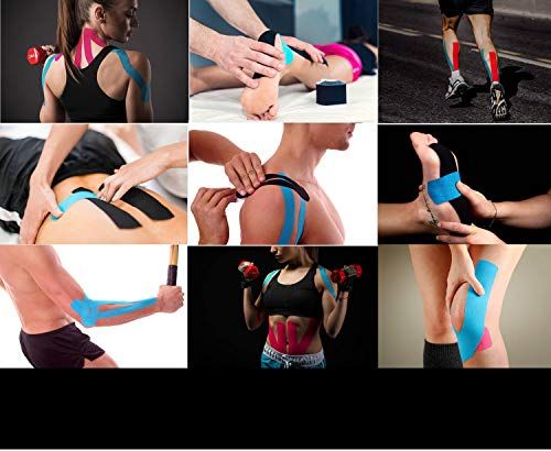 (2 Pack) Kinesiology Tape for Physical Therapy Sports Athletes - Latex Free Elastic, 16ft Water Resistant Kinetic Uncut Kinesio Tape for Knee Pain, Elbow & Shoulder Muscle - Black