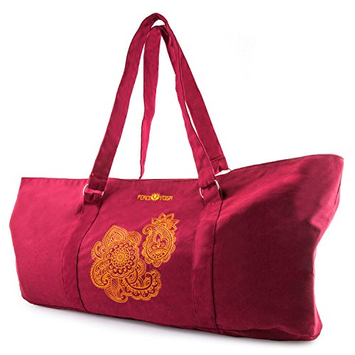 Peace Yoga Yoga Mat Tote Bag - Henna Design