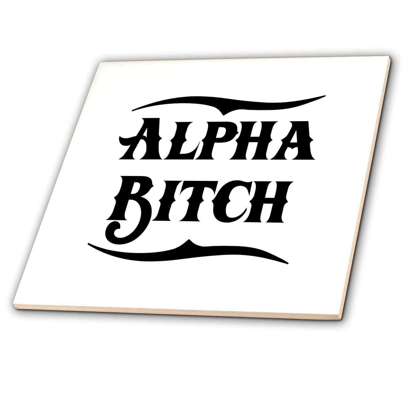 Alpha Bitch Design in Black on White 3dRose Russ Billington Designs T-Shirts