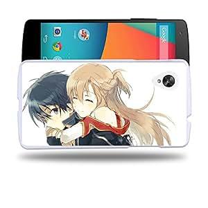 Case88 Designs Sword Art Online SAO Kirito & Asuna Protective Snap-on Hard Back Case Cover for LG Nexus 5