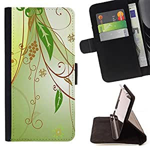 Jordan Colourful Shop - Design Floral Green For HTC DESIRE 816 - < Leather Case Absorci????n cubierta de la caja de alto impacto > -