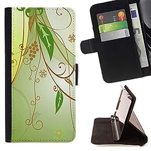 For Samsung Galaxy Core Prime / SM-G360,S-type Diseño floral verde- Dibujo PU billetera de cuero Funda Case Caso de la piel de la bolsa protectora