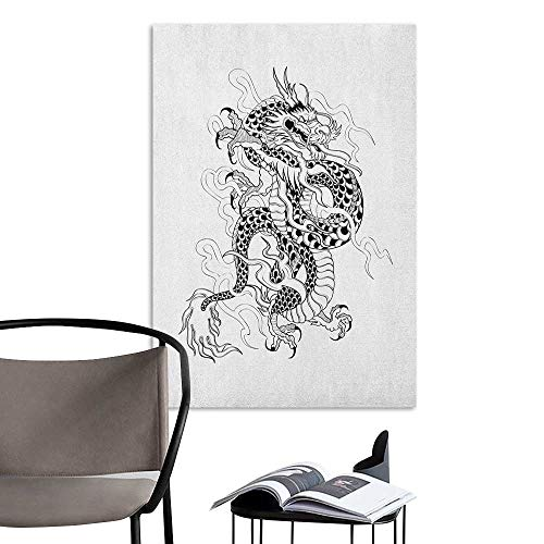Alexandear Decals for Home Room Decoration Japanese Dragon Sketch Artwork Style Ancient Mighty Figure with Claws Fire Monster Tattoo Black White Art Mural Decals W32 x -